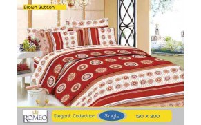Bedcover Romeo Brown Button (Single 120x200)