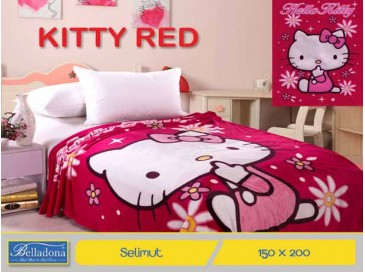 Selimut Kitty Red (150x200)